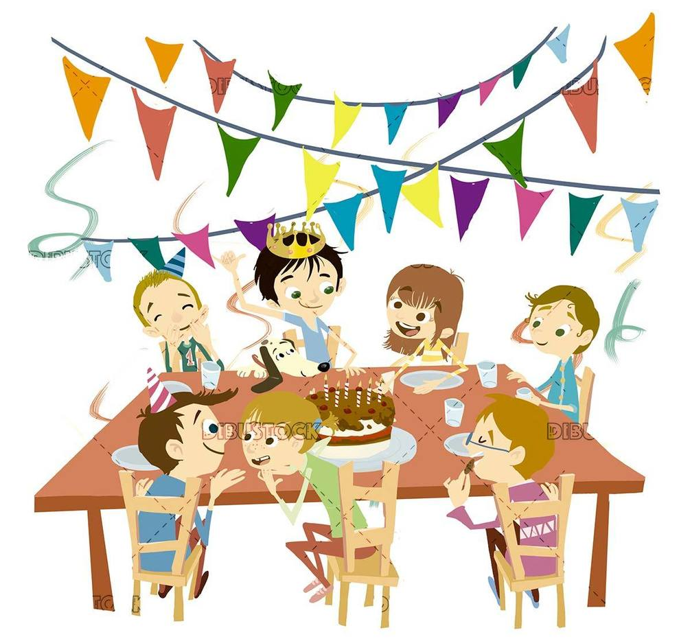 kids celebrating a birthday with isolated background