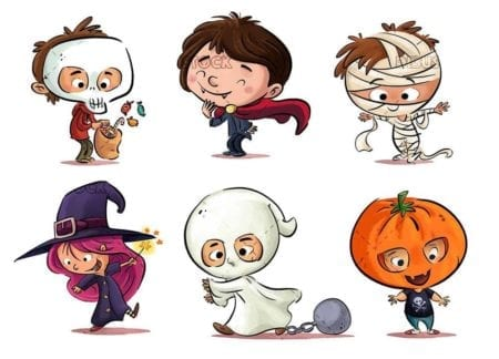 kids in different poses and halloween costumes