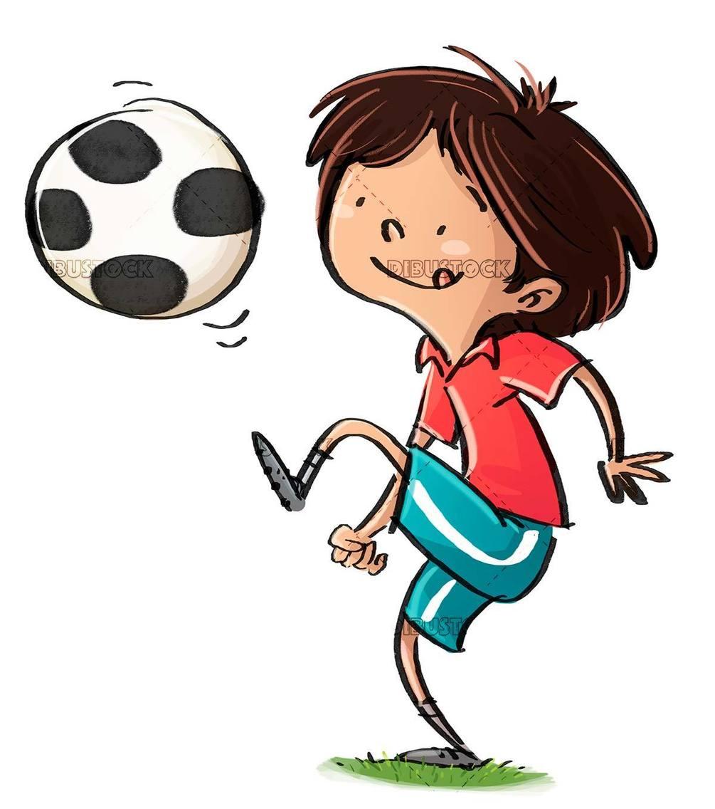 kids juggling soccer ball