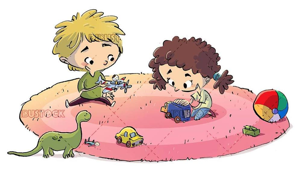kids playing on the carpet with toys