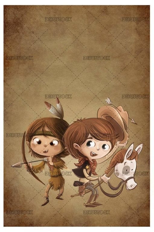 kids with cowboy and indian costume with texture background