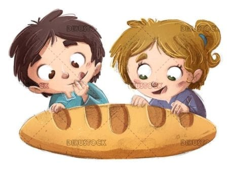 kids with giant loaf of bread