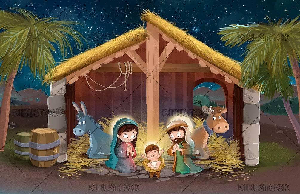 Bethlehem 20portal 20 20with 20child 20jesus 20of 20night 20with 20stars