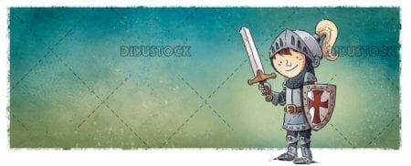 Knight boy with sword and armor with green background