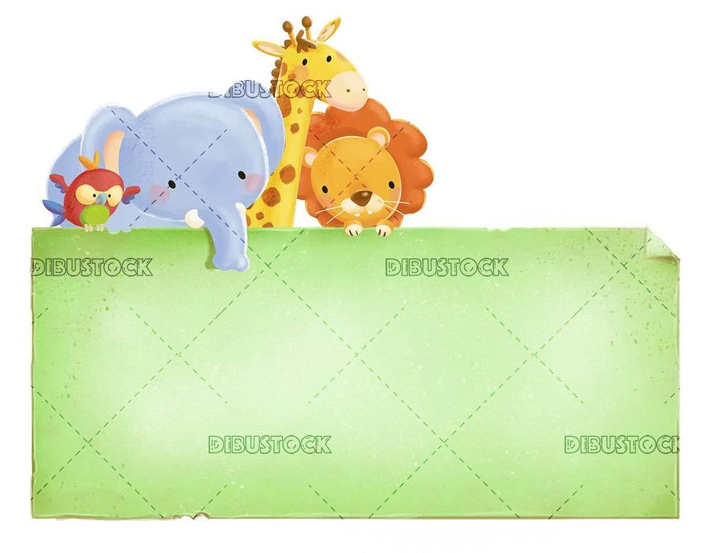 Lion 2C giraffe 2C parrot and elephant with sign