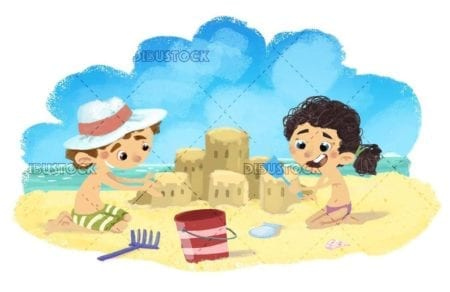 Little girl and boy making a sandcastle on the beach