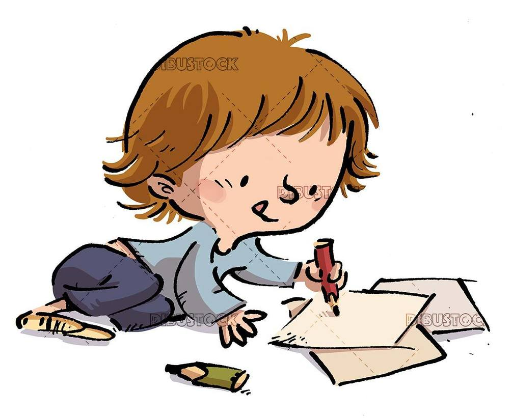 Little girl lying down writing with pencil and paper