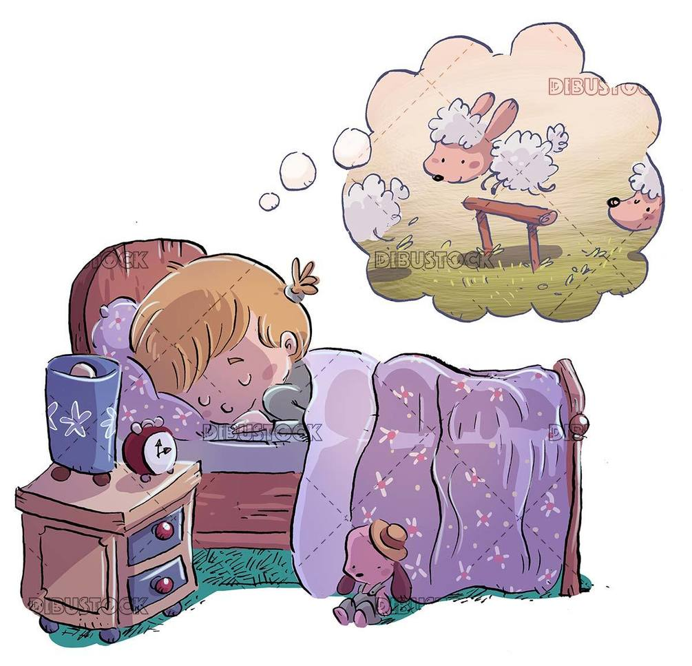 Little girl sleeping dreaming of sheep