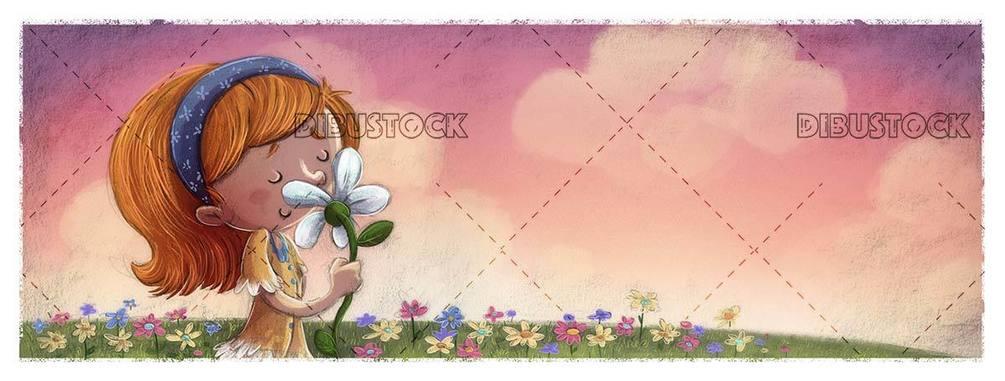 Little girl smelling a flower in a meadow full of flowers