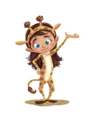 Little girl with giraffe costume