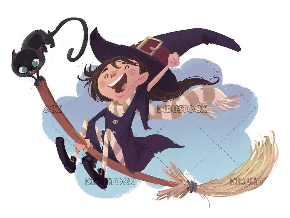 Little witch and cat flying on a magic broom