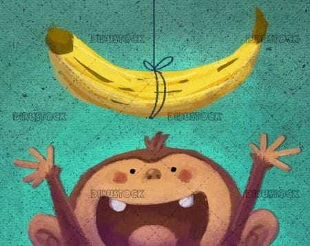 Monkey trying to reach a banana on textured background