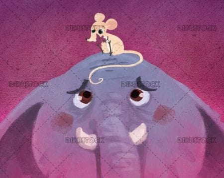 Mouse resting on the head of a scared elephant on textured background