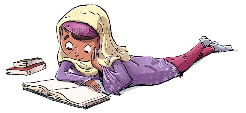 Muslim girl lying reading a book