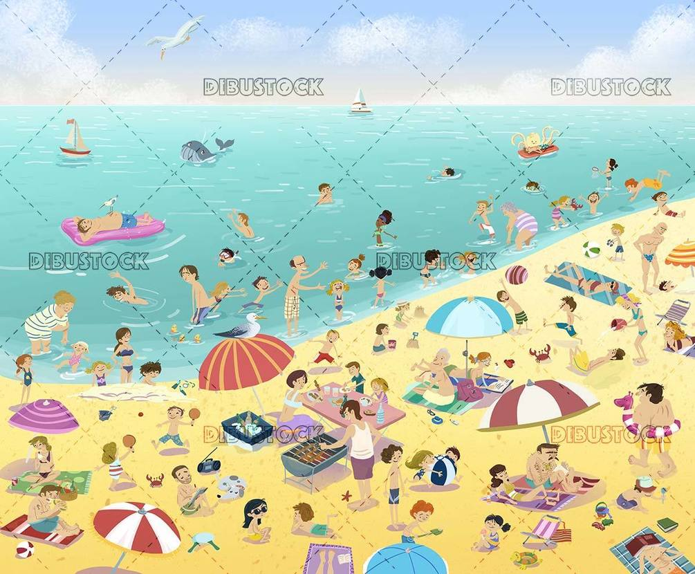 People enjoying the sun and the sea on the beach