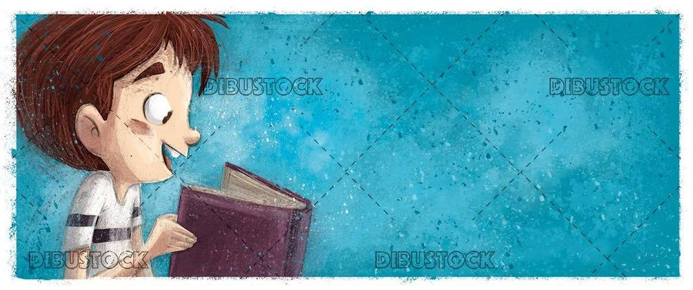 Profile face of boy reading a book on blue background