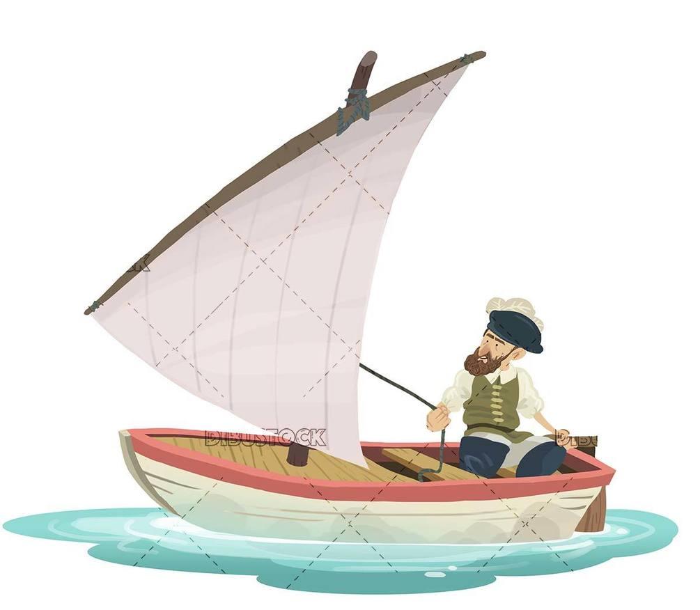 Sailor sailing in boat