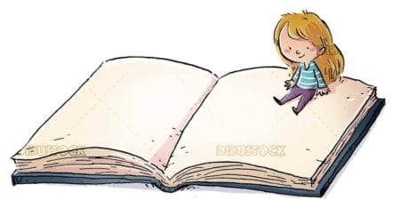 Small girl sitting on a giant book with isolated background