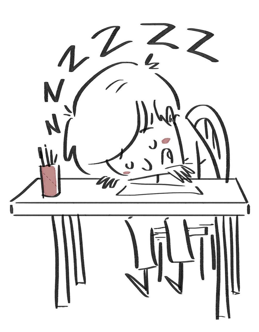 Student boy sleeping at the desk. Black line