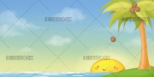 Sunny tropical landscape with island and palm tree