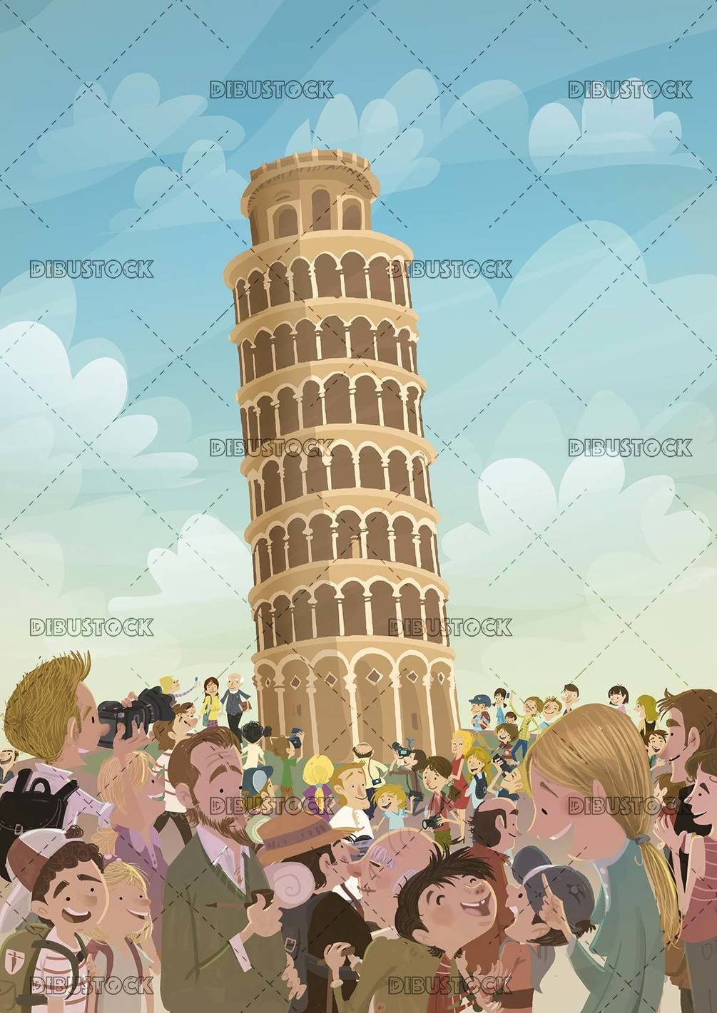 The tower of Pisa visited and admired by tourists