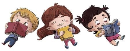 Three children lying reading books on isolated background