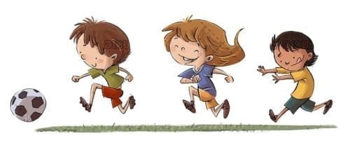 Three kids running behind a soccer ball