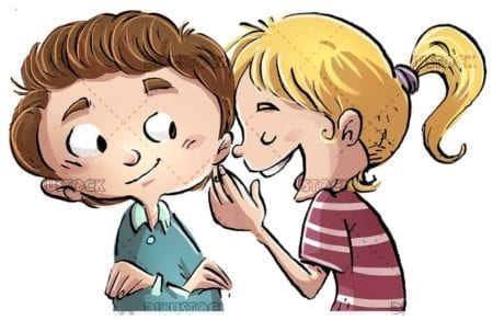 Two children talking to the ear with isolated background