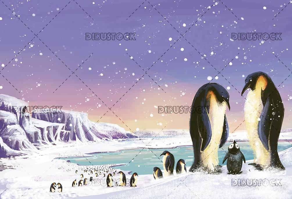 landscape with penguins in the snow