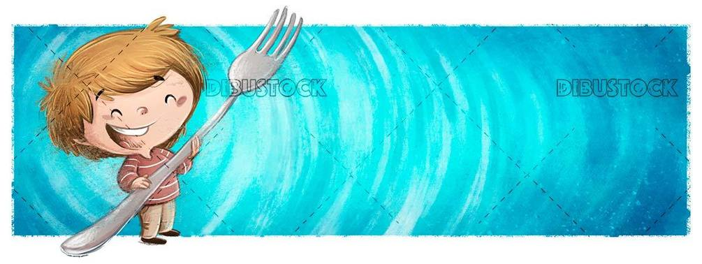 laughing boy on blue background while holding a big fork