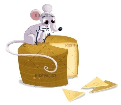 laughing mouse sitting on top of cheese