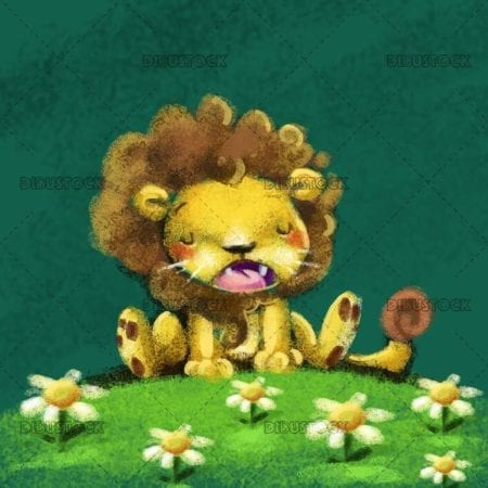 lion meditating in the grass