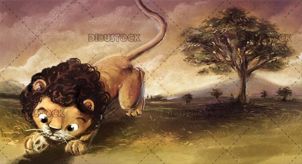 lion running through the african savannah