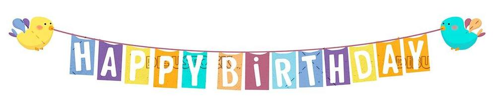 little birds with a happy birthday sign