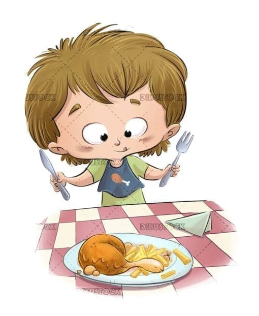 little boy about to eat a plate with chicken and potatoes