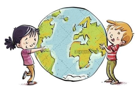 little boy and girl hugging the world happy isolated