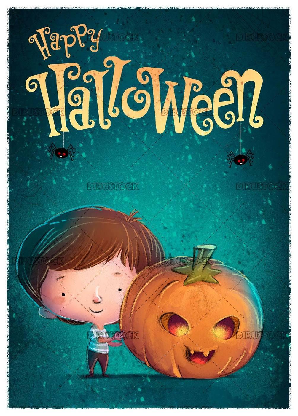 little boy catching a giant pumpkin with halloween background