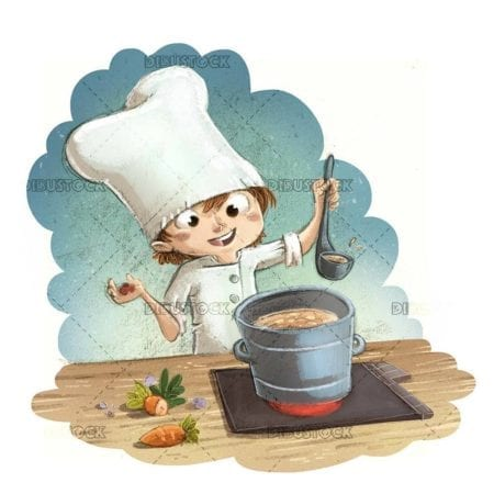 little boy cooking with pot