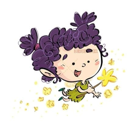 little fairy flying with stars wand