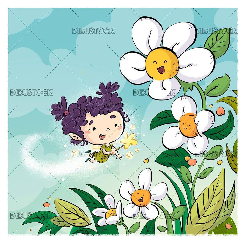 little fairy playing with flowers in nature