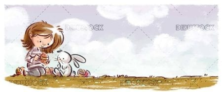 little girl and easter bunny with colored eggs