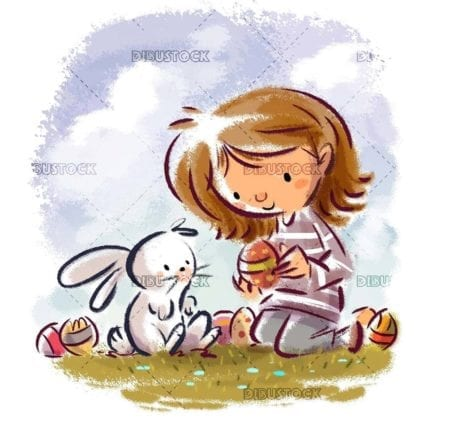little girl and easter bunny with colored eggs isolated