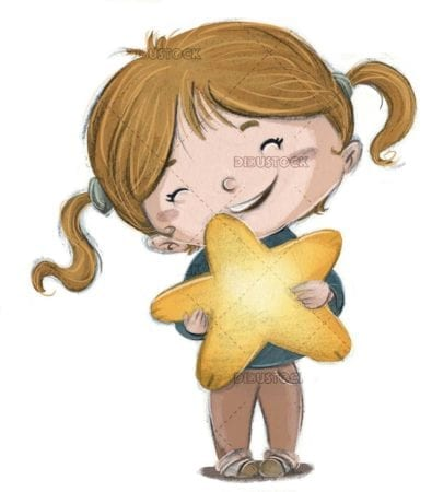 little girl catching a star with her hands on isolated background