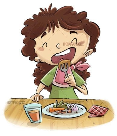 little girl eating a plate of food with fork on the table