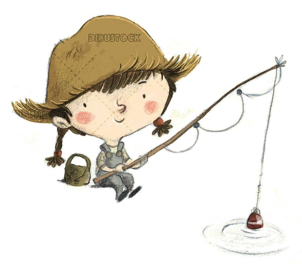 little girl fishing with her cap and fishing rod