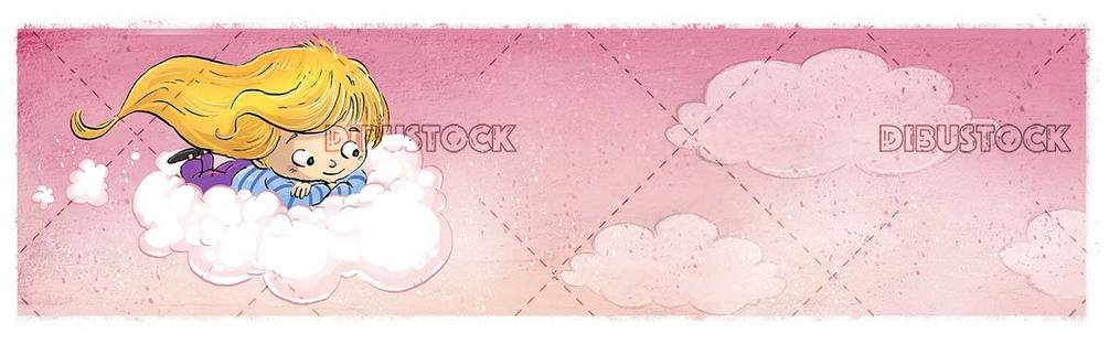little girl flying over a cloud with pink background