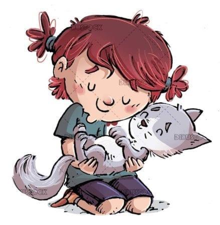 little girl giving her cat a tender hug isolated