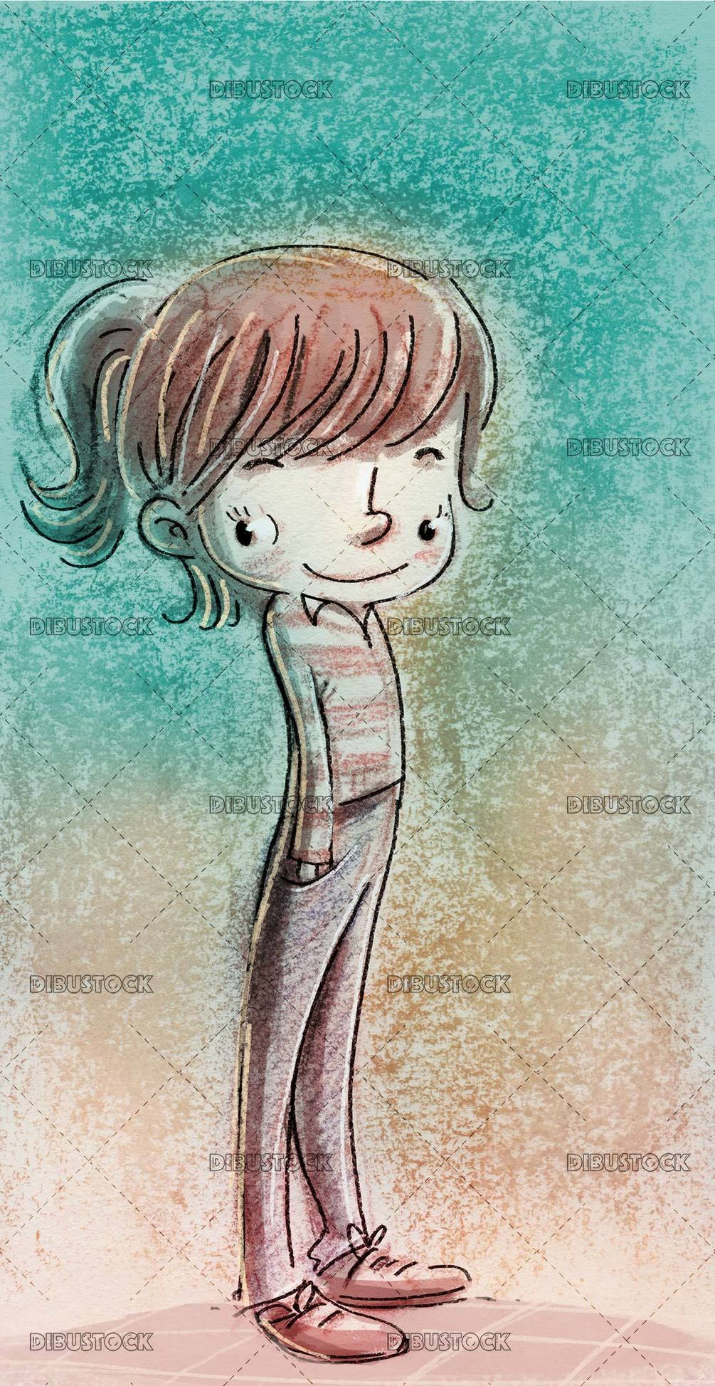little girl in funny pose with texture background