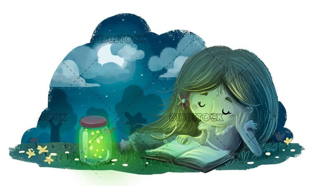 little girl lying at night reading a book with firefly boat