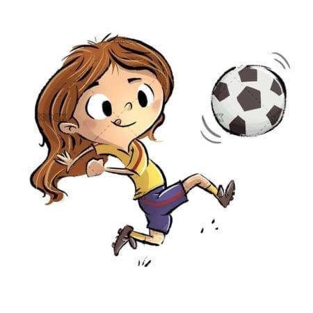 little girl playing soccer ball